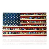 """Flags of Valor Challenge Coin Holder Wooden American Flag Wall Decor -Medium - 36' x 19.5"""" - Made in the USA - Holds 100 Coins. Government Military Challenge Coin Holder Display Made by True Veterans"""