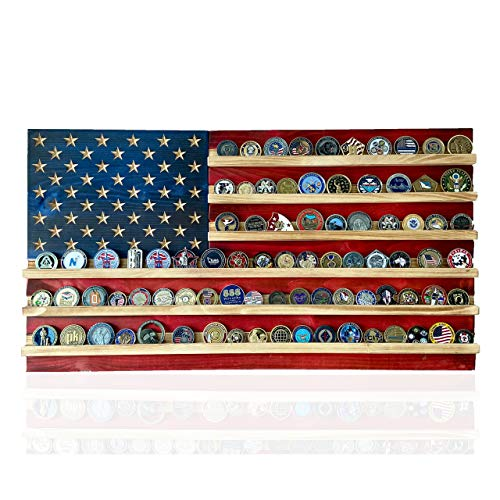 """Flags of Valor Challenge Coin Holder Wooden American Flag Wall Decor - 36' x 19.5"""" - Made in the USA - Holds 100 Coins. Government Military Challenge Coin Holder Display Made by True Veterans"""