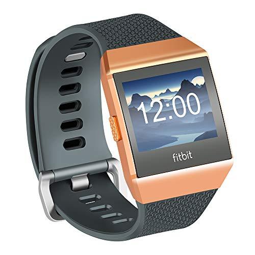 Fotover Ersatzarmband Kompatibel mit Ionic,Einstellbar Atmungsaktiv Weiches TPU-Uhrenarmband Ersatzband fo Ionic Fitness Smartwatch mit Ionic Schutzfolie,Grau(S)