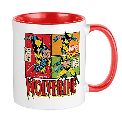 Taza Wolverine Taza de café de 11 oz Apta para microondas y lavavajillas Wolverine Comic White Red Inside