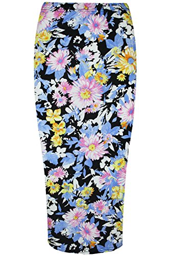 Oops Outlet Women's Floral Leaves Summer Stretchy Bodycon Pencil Tube Midi Skirt Plus Size (US 12/14) Blue Multi Color