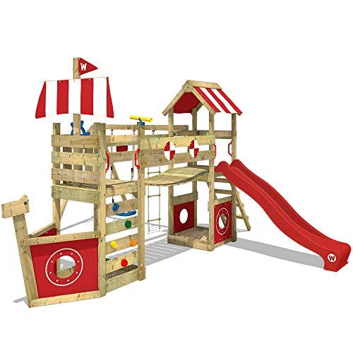 WICKEY Parco giochi in legno StormFlyer Giochi da giardino con altalena e scivolo rosso, Torre di arrampicata da esterno con sabbiera per bambini