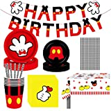 Amycute Juego de Vajilla para Fiesta de Cumpleaños de Mickey, 71 Pcs Vajilla Set de Mickey Mouse Party Decoration para Niños Cumpleaños Baby Shower, Incluye Platos Tazas Servilletas Pajas Mantel