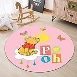 Rugs Carpet Household Children'S Bedroom Non-Slip Floor Mats Cartoon Butterfly Pooh Bear Pattern Modern Round Carpet All-Match Decoration