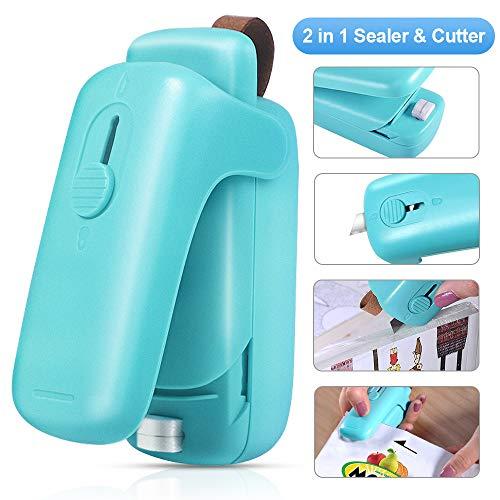 XIMU Folienschweißgerät Mini, Mini Bag Sealer mit Cutter, 2 in 1 Küche Hand Verschlussgerät für Beutel Spänesäcke Plastiktüten Lebensmittellagerung Snack Fresh Bag Sealer (Batterie inklusive) (Blau)
