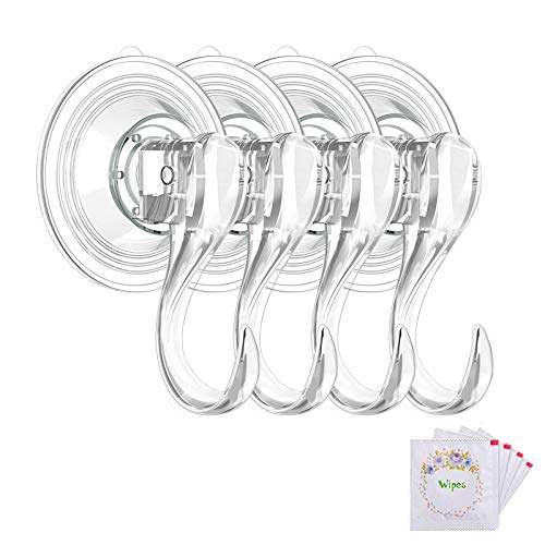 VIS'V Suction Cup Hooks, Small Clear Reusable Heavy Duty Vacuum Suction Cup Hooks with Cleaning Cloth Strong Window Glass Kitchen Bathroom Hooks for Towel Loofah Sponge Christmas Wreath - 4 Packs