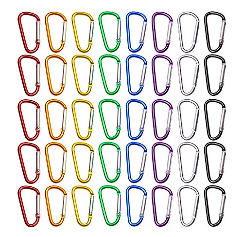 Mini Skater 1.75 Inch/4.5cm Assorted Colors D Shape Ring Nonlocking Aluminum Alloy Spring-loaded Snap Keychain Hook Belt Backpack Buckle Clip for Outdoor indoor activities,40Pcs (8 Random Color)