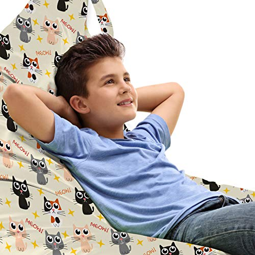 Lunarable Nursery Toy Bag Lounger Chair, Cats Big Winy Eyes Meow Stars Best Pets Joyful Whimsical Childish Art, High Capacity Stuffed Animal Storage with Handle, Peach Grey and Eggshell