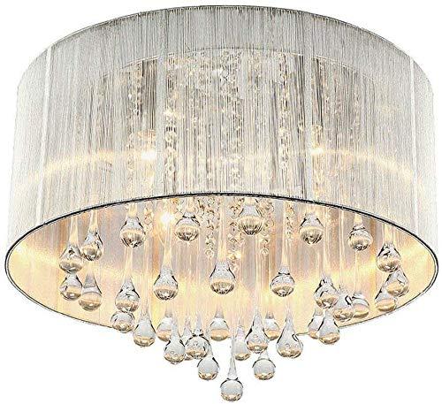 Elegante kristallen Plafond Doek lampenkap Chandelier, waterdruppeltje ontworpen romantische Bevestiging Lighting for de slaapkamer een woonkamer, een trouwzaal, Silver XIUYU (Color : Silver)