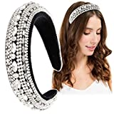 Rhinestone Padded Headband Women Velvet Clear Crystal Embellished Headband Bejewelled Statement Wide Hair Hoop Hairband for Wedding Party