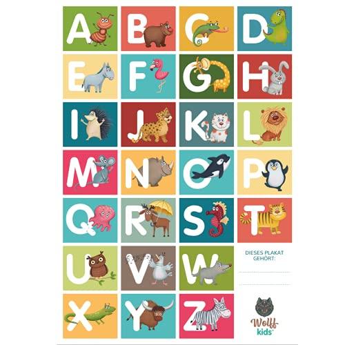 WOLFF KIDS ABC Poster für Kinder I Buchstaben Lernen mit Tieren I Buchstaben-Plakat I ABC Lernposter groß für Kindergarten, Vorschule oder Grundschule I Alphabet Poster Gr. 42 x 59 cm