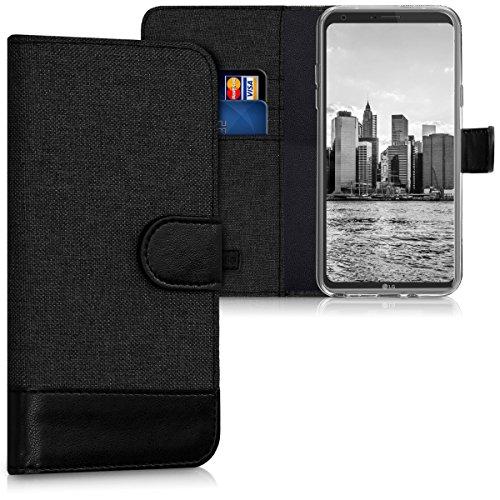 kwmobile LG Q6 / Q6+ Hülle - Kunstleder Wallet Case für LG Q6 / Q6+ mit Kartenfächern & Stand - Anthrazit Schwarz