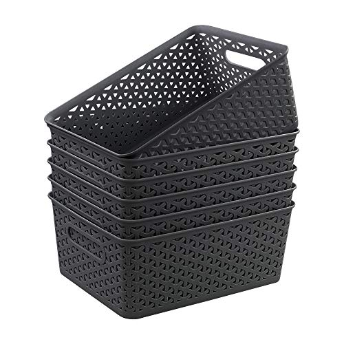 Gloreen Grauer Kunststoffkorb, gewebte Aufbewahrungskörbe, 6 Stück