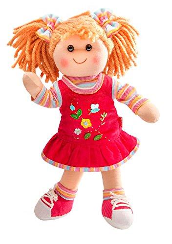 Heless 700 - Weichpuppe Mädchen Lili, mit feschem Kordkleid und Ringelshirt, ca. 42 cm groß, zum Kuscheln, Spielen und Liebhaben