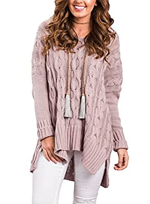Sidefeel Women Casual V Neck Loose Fit Knit Sweater Pullover Top X-Large Pink