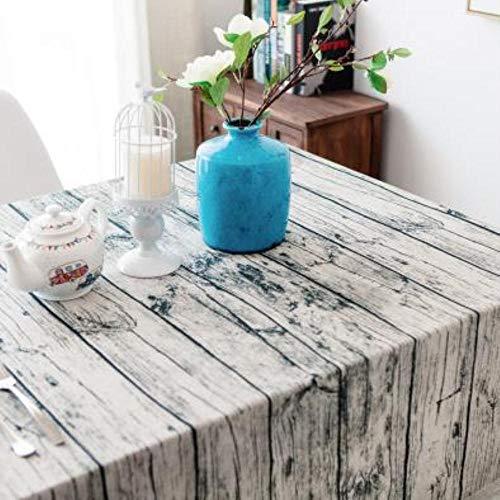 EDCV Woondecoratie Textiel Tafelkleed Linnen Landelijk Vierkante Tafelkleden Rechthoekige Eettafel Cover Salontafel Thee, houten strip