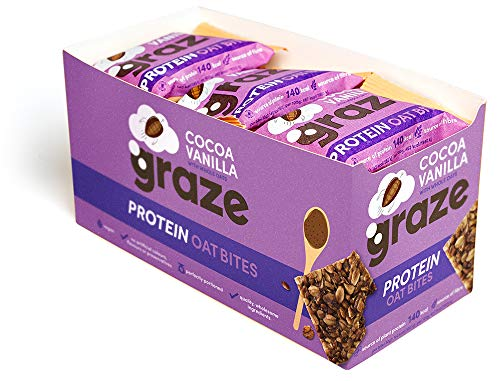 Graze Cocoa Vanilla Protein Oat Bites - Vegan Healthy Snack with Whole Oats - 30g (Pack of 15)