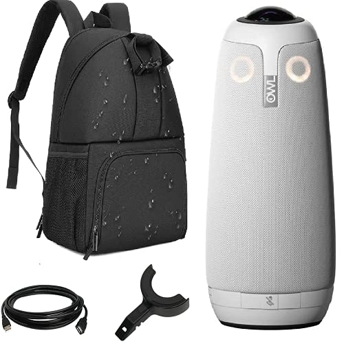 Owl Labs 360 Meeting Camera Owl Pro Premium Pack with Case - 360 Degree, 1080p Smart Video Conference Camera, Microphone, Speaker, with Backpack Bundle (Includes Accessories and Warranty)