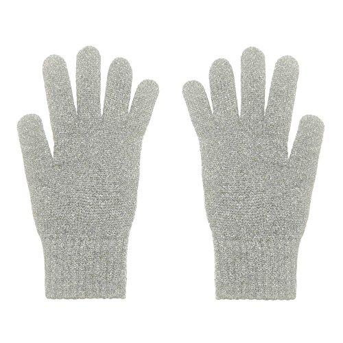 2-schichtige Damenhandschuhe aus purem Kaschmir, flanell-grau