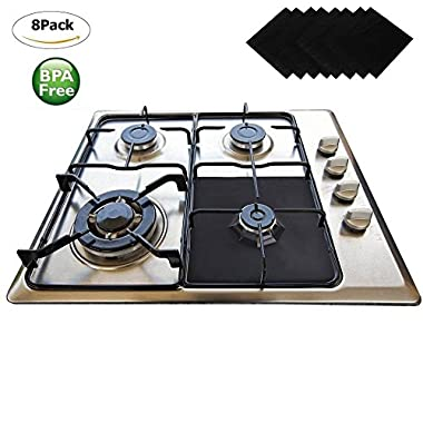 Gas Range Protectors 8 Pack - Wellvo Stove Protector Cook Top Liners Hob Burner Covers 2mm Heavy Duty Reusable Easy to Clean Non Stick BPA, PFOA Free FDA Approved Prime