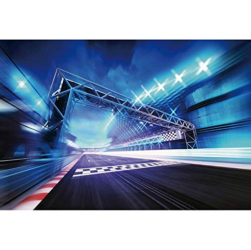 YongFoto Racetrack Backdrop for Photography, Racing Sport Sportlights Finish Line Race Track Background, Birthday Party Banner Bleachers Auto Motorsport Portrait Photo Props 7x5ft