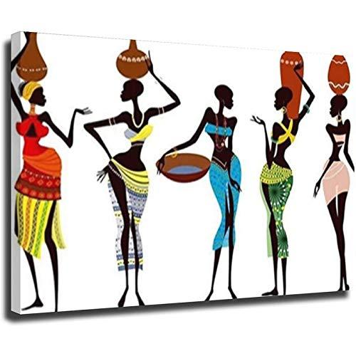 Cuadros de lona abstractos modernos de las mujeres africanas de gran tamaño en la pared carteles e impresiones arte de la pared para la sala de estar decoración del hogar estilo unframe-1 40 x 60 cm