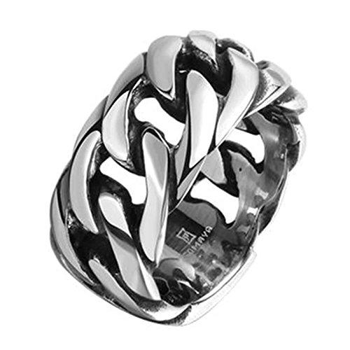 Anyeda Schmuck Ring Herren Edelstahl Kostenlose Gravur Gothic Ringe Vintage Bands Rechteck Kette Form Wedding Bands Größe 60 (19.1)