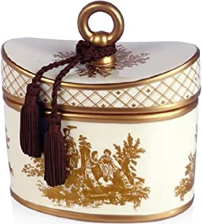 Classic Toile Japanese Quince Ceramic Candle