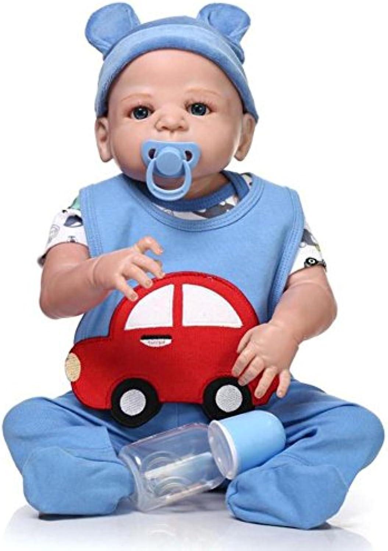 SHTWAD Silikon Neugeborenen Lebensechte Reborn Baby Puppe Magnetische Mund Junge Spielzeug 57cm