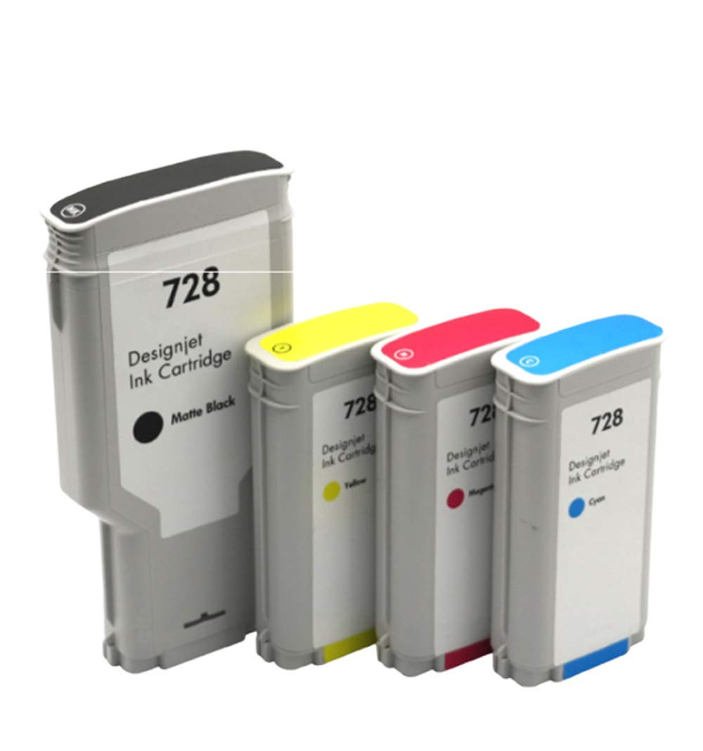 Adecuado para cartucho de tinta Hp728 Hp Designjet T830 T730 Plotter Ink F9j68a, negro 300ml Color 130ml-4colors: Amazon.es: Oficina y papelería