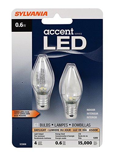 SYLVANIA LED C7 Accent Light Bulb, Efficient 0.6W, 4 Lumens, 2 pack