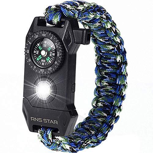 RNS STAR Paracord Survival Bracelet 6-in-1 - Hiking Gear Traveling Camping Gear Kit - 70% Bigger Compass LED SOS Emergency Function Flashlight,Fire Scrapper,Flint Fire Starter,Survival Knife (Camo_6)