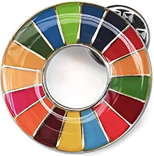 SDGs バッジ sdgsバッチ ピンバッチ25mm (1個) かわいい お洒落 ギフト 襟章 帽子やバッグにも最適 国連最新仕様 銀色 シルバー表面丸み仕上げ 留め具3個付き