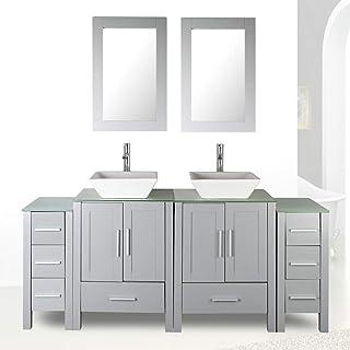 "72"" Double Sink Grey Bathroom Vanity Modern Design Glass Top w/Mirror Faucet&Drain"