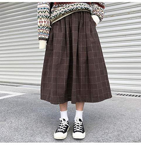 Kilt Falda Escocesa Faldas Largas De Cintura Elástica Alta Mujer Otoño Invierno A Cuadros Faldas Plisadas De Una Línea para Mujer OneSize Coffee