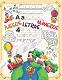 Juegos - Letras - Números: Aprendiendo a repasar con divertidos juegos educativos para niños de 3-6 años: Encuentra las diferencias, Desafío laberintos, Unir los puntos.....