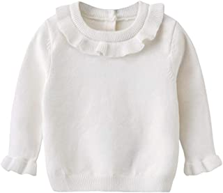 Auro Mesa Baby Girl Winter Clothes,White Sweater Toddler Little Girls Sweater Knit Ruffles (3T(110cm))