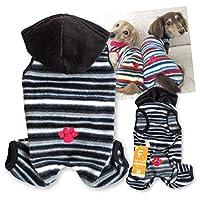 犬猫の服 full of vigor_マルチボーダーフリースつなぎ_4/ブラック_D2S_小型犬・ダックス用