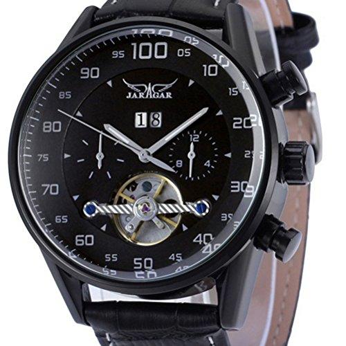 Pixnor–Reloj de pulsera automático con mecanismo de cuarzo, pantalla con fecha, armadura de piel sintética,reloj de pulsera para hombre