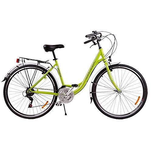 Bicicletta da Passeggio Strada per Donna Omega Ramona 26 Pollici,da Citta Shimano Telaio allumino Vintage Retro City Bike Economica con Freni Ruota Pedali Sella (Verde)
