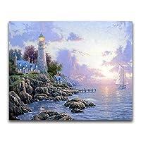 フルラウンドドリル5DDIYダイヤモンド絵画海辺の灯台3D刺繡クロスステッチ5D家の装飾ギフト 50X60cm