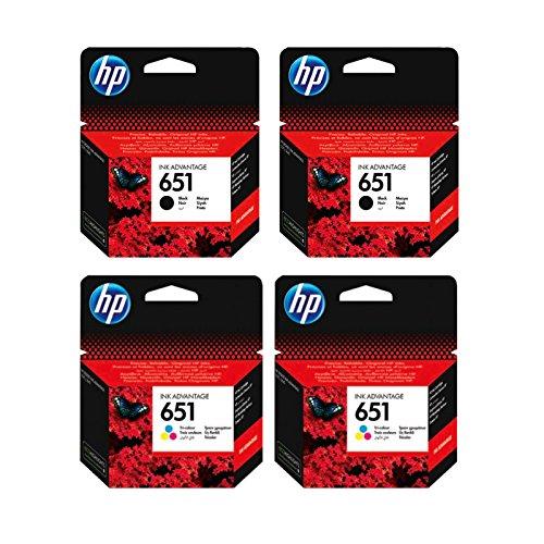 Cartucho de tinta original de HP c2p10ae HP 651hp651para HP Deskjet Ink Advantage 5575–Black–Potencia: aprox. 600Páginas/5%, color (08) 2x Tintenpatronen Set - 2x Black + 2x Color