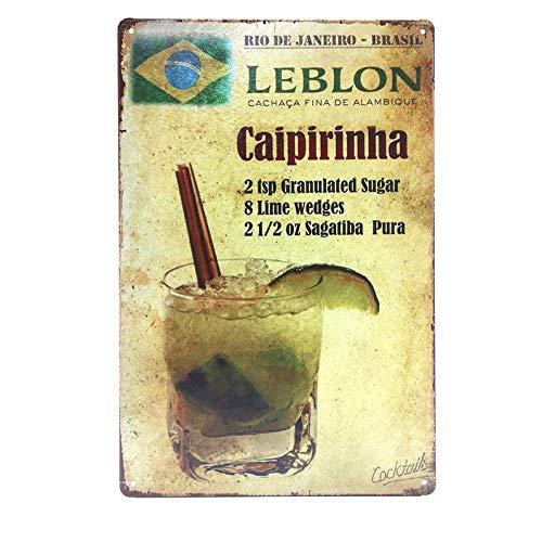 shovv Decoración de cóctel de Gin Tonic Ron Mojito Carteles de Chapa Tiki Bar Club Inicio Arte de la Pared Pintura Placa Decorativa Cartel de la Cerveza