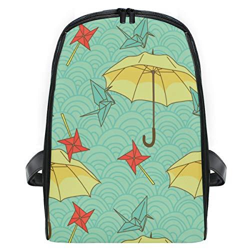 ELIENONO Mochilas Escolares Juveniles,Patrón Sin Fisuras con Paraguas Coloridos Grullas Origami,Mochila Hombre Casual Mochila para Portatil Resistente Mochila Instituto para Chicos