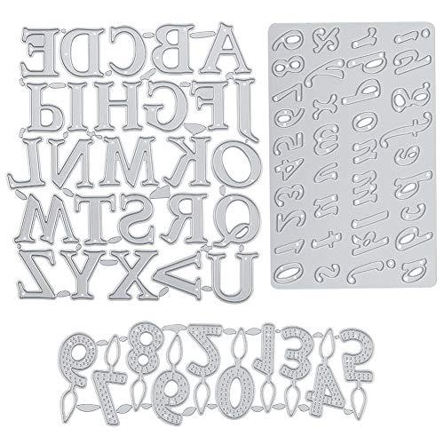 GORGECRAFT 3 troqueles de corte de marco de metal con números, alfabeto y acero al carbono, plantilla para manualidades, tarjetas, álbumes de fotos, álbumes de recortes