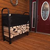 ShelterLogic 4' Adjustable Heavy Duty Outdoor Firewood Rack with Steel Frame Construction and Water-Resistant Cover