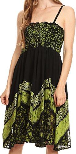 Sakkas 55341 Afrodita Vestido Bordado Batik - Negro/Verde - OS