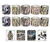 Dingzing 10pcs Cinta de Camuflaje Militar, Tela no Tejida Reutilizable Cinta Adhesiva de Camuflaje autoadhesiva Estiramiento Protector Rollo de Vendaje para Caza/Camping/Senderismo/Pesca