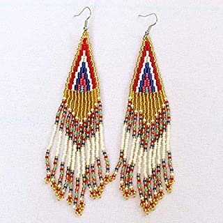 African Zulu beaded earrings - Long chandelier - Gold/pink/red/blue - Gift for her