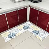 Kitchen Mats,2 Pieces Vintage L-Shape Non-Slip Kitchen Sink Mats Flowers Pattern Long Absorbent Runner Rugs Floor Mat Carpets for Kitchen Laundry Room Sink Hallway Entry,Blue Yellow Flowers,50X80 Cm